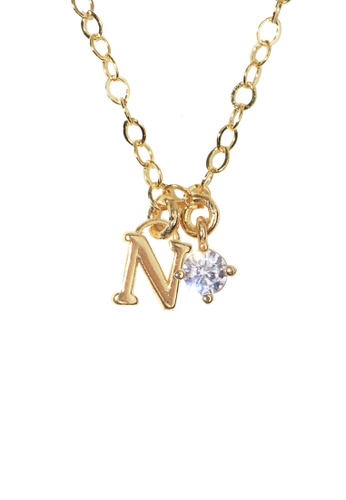 PSYNDROME gold Personalised Initial Letter Alphabet with Cubic Zircona Necklace - N 893D9AC6C6F141GS_1