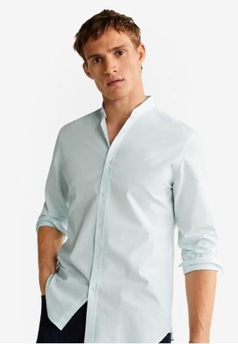 Mango Man 綠色 Slim Fit Mao Collar Shirt 1317AAA8083041GS_1