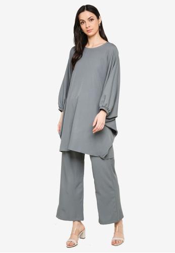 Butik Sireh Pinang grey Zalikha Blouse Suit Kaftan F04A3AA0DCA507GS_1