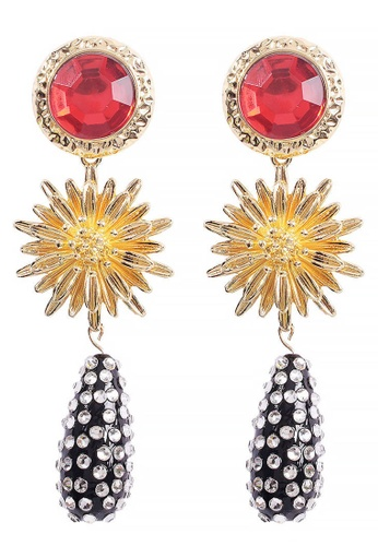 Sunnydaysweety red Drop-Shaped Flower Pendant Earrings A21032408RD 09802ACCB981E6GS_1