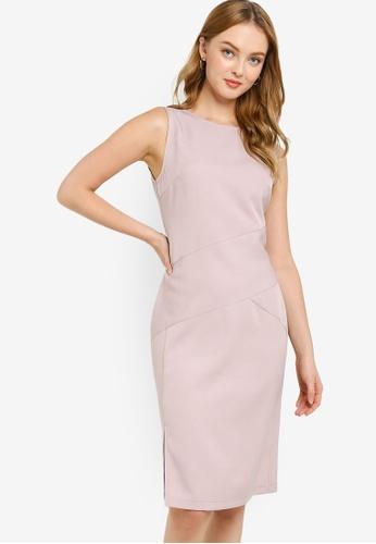 ZALORA WORK pink Sleeveless Sheath Dress 6B538AA12B9A3AGS_1