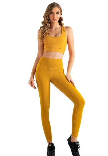 B-Code yellow ZUU3006-Lady Quick Drying Running Fitness Yoga Leggings-Yellow 26B0CAAB44CDA6GS_1