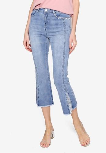 Hopeshow blue Front Slit Slim Fit Capri Denim Jeans 5C142AA35C3AEAGS_1