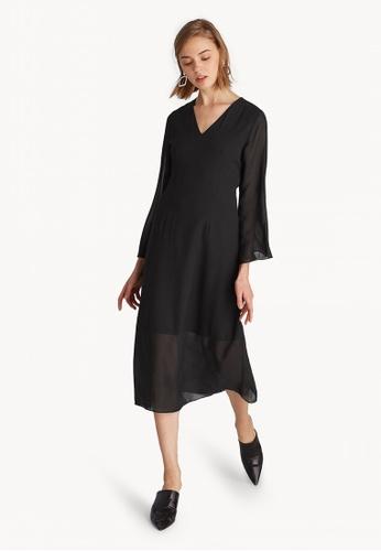 020f157d80ea Shop Pomelo Semi Sheer V Neck Dress - Black Online on ZALORA Philippines