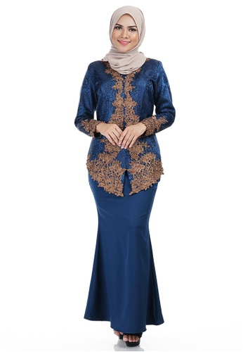 Shaliha Kebaya with Bronze Lace Embellishment from Ashura in Blue and Multi and Brown