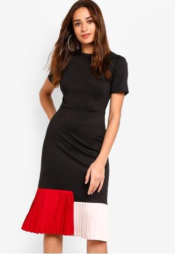 ZALORA black and multi Colorblock Pleated Midi Dress 42C35AAC999D7CGS_1