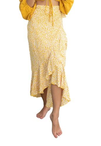 Indigo and Rose yellow Indigo and Rose Nooma poppy flower wrap skirt F9327AA69BAC48GS_1