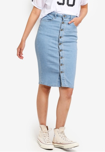 Something Borrowed blue Buttoned Down Midi Skirt D6FA6AAC73F143GS_1
