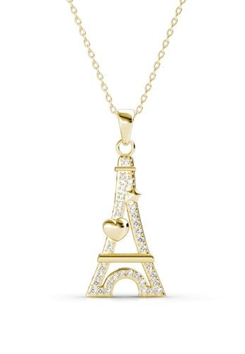 Her Jewellery yellow Swarovski® Crystals -Paris Love Pendant (Yellow Gold) (18K Yellow Gold Plated) Her Jewellery HE581AC0RVF2MY_1