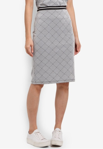 ZALORA grey Midi Skirt with Tipped Rib 58A54AA43F75B3GS_1
