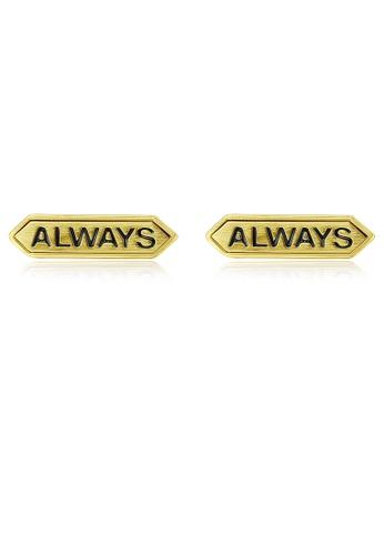 SUNRAIS gold Premium Silver S925 gold letter earrings 36AD2AC9C57D2EGS_1