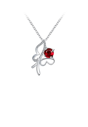 Glamorousky red Elegant Hollow Butterfly Pendant with Red Cubic Cubic Zirconia and Necklace 606EDACE284CB7GS_1