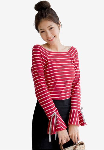 Tokichoi red and multi Ruffled Wide Neck Striped Top ECDF9AA2B4FF46GS_1