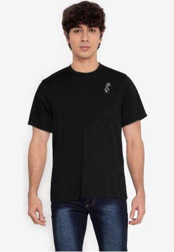 ZALORA BASICS black Flower Pocket T-Shirt A913FAAC9BDF18GS_1