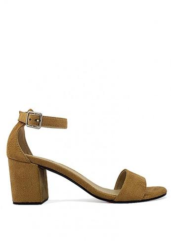 Zanea Shoes beige Ankle Strap Block Heel Sandals 1BB5DSH4E18EFFGS_1