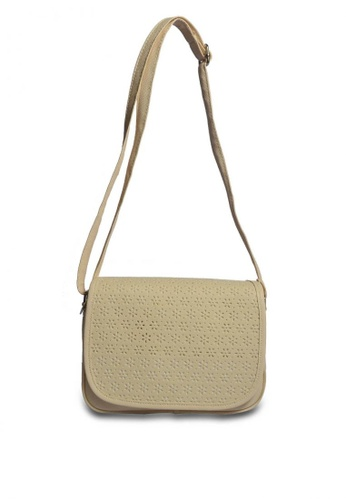 HDY white and beige Vivian Laser Cut Sling Bag HD484AC0K4MIPH_1