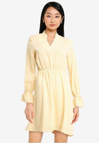 ZALORA BASICS yellow Notch Neck Mini Dress with Elastic Waist 612ACAA36086D0GS_1