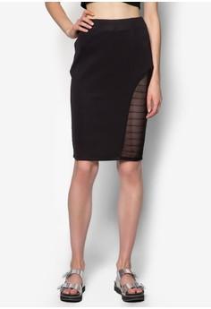 Mesh Insert Bodycon Skirt