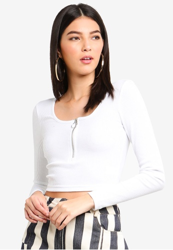 5a9176599 Shop MISSGUIDED Long Sleeve Zip Front Crop Top Online on ZALORA ...