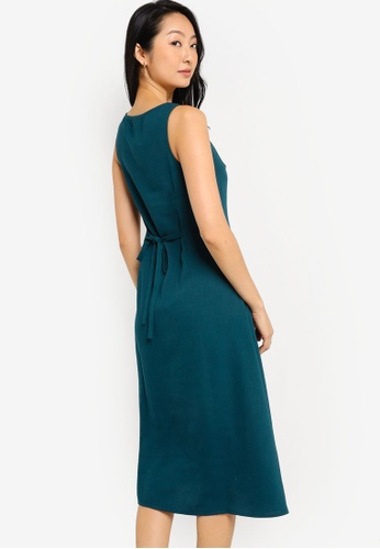 ZALORA BASICS green Square Neck Midi Dress A2D34AA8F8732BGS_1