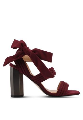 ZALORA 紅色 蝴蝶結緞帶粗跟涼鞋 297EASH396CF0CGS_1