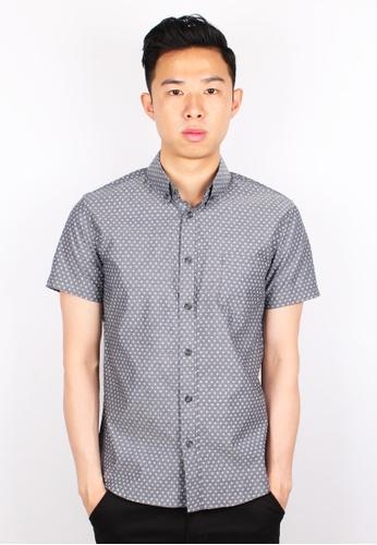 Moley grey Floral Patterned Short Sleeve Shirt MO329AA0GMR1SG_1