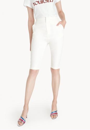 Pomelo white Tailored Capri Pants - White 4637FAA97E1F2BGS_1