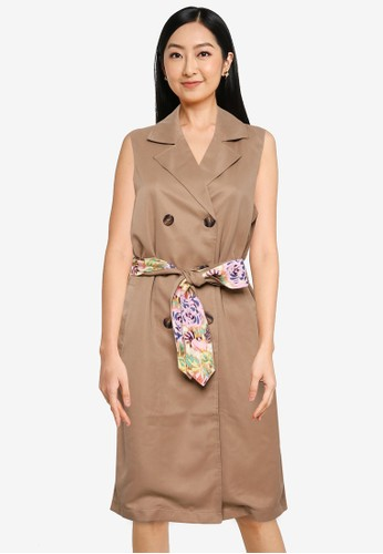 ONLY brown Vita Belted Waistcoat Dress 14203AAE1F1462GS_1