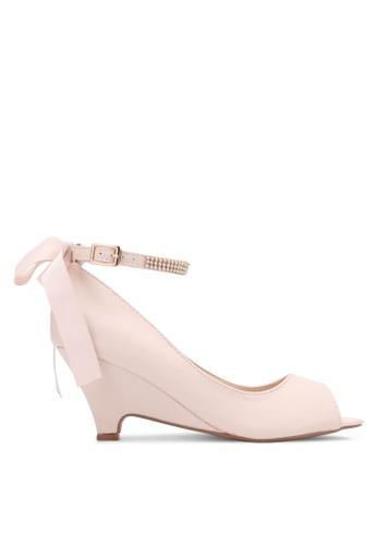 Velvet beige Bow Ankle Strap Peep Toe Wedges 66D63ZZ12F2640GS_1