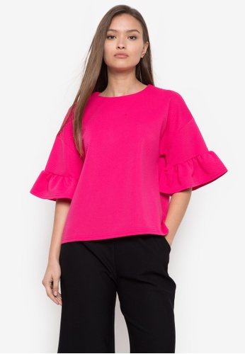 CIGNAL pink Round Neck Bell Sleeves Blouse 286B7AA1FCBF9CGS_1