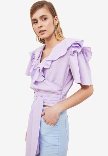 Trendyol purple Ruffle Trim Collar Wrap Top CD62DAA76498D9GS_1