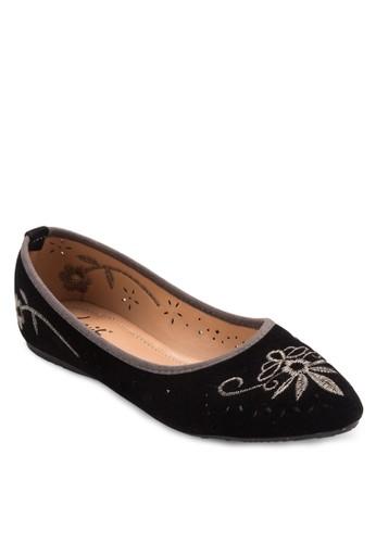 刺繡圖案尖頭平底鞋, 女esprit 寢具鞋, 鞋