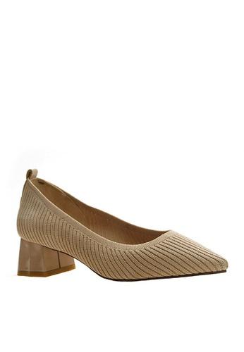 Twenty Eight Shoes beige Trendy Knitted Fabric Mid Heels VL118882 8A778SH3CC6923GS_1