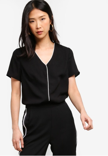 ZALORA BASICS black Basic Contrast Trim Blouse DEE16AA9789088GS_1