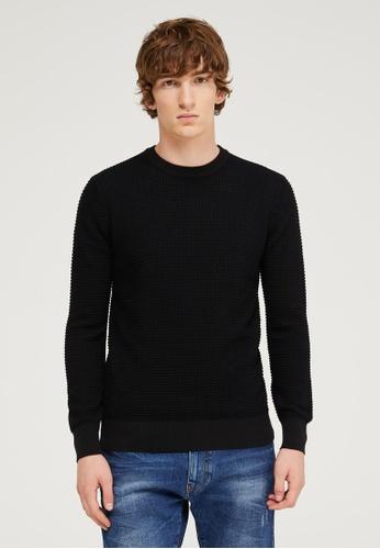 Sisley black Crew neck 3D look sweater CD1BDAAE99E484GS_1