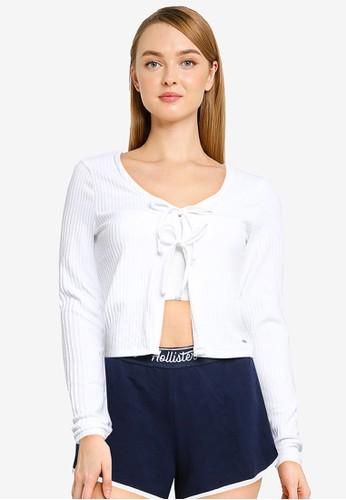Hollister white Long Sleeve Slim Double Tie Cardigan 0417EAA000E9CDGS_1