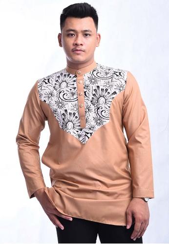 UA BOUTIQUE brown Kurta Batik SEKLC09-081 (Light Brown) 93313AA43DF83AGS_1