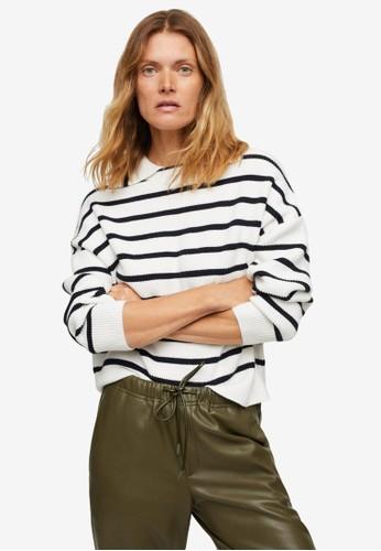 Mango white Collar Knit Sweater 66DDEAAC1F62A4GS_1