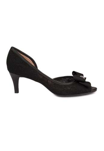 MAUD FRIZON black Lace Peep Toe Side Open Pumps W/ Featured Bow 4F24FSHEE5285FGS_1