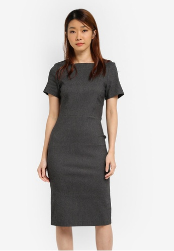 Dorothy Perkins grey Square Neck Pencil Dress DO816AA0SJ5XMY_1
