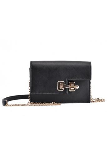 Vince black Korean Style PU Leather Mini Shoulder Bag (Black) FL898AC07ELOMY_1