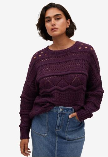 Violeta by MANGO purple Plus Size Openwork Knit Sweater C75F1AAF11AD06GS_1