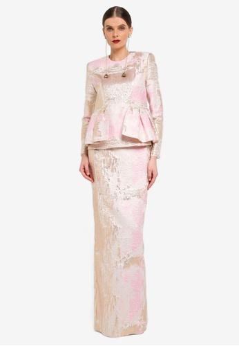 Rizalman for Zalora white and pink and gold Udaipur Modern Kurung RI909AA0SEZRMY_1