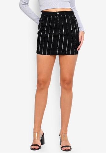MISSGUIDED black Linear Embellished Denim Mini Skirt 25524AA55AD1E6GS_1