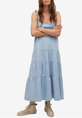 Mango blue Frill Cotton Dress C04E3AA93AF3C0GS_1