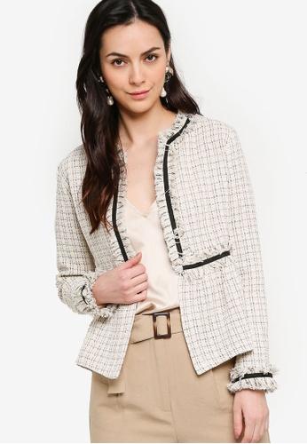 ZALORA WORK white and multi Frayed Tweed Jacket 86D28AAFDFDD9EGS_1