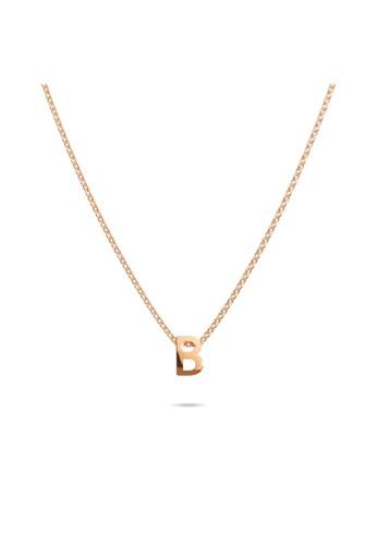 Bullion Gold gold BULLION GOLD Initials Brick Alphabet Letter Necklace Rose Gold Layered Steel Jewellery - B 846C5AC9550C36GS_1