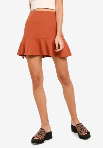 Miss Selfridge brown Rust Peplum Hem Skirt 606D3AACC11FA6GS_1