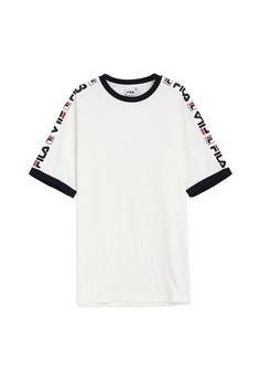 76290d4e2 Fila white Korea Collection Side Taped T-shirt 94B5DAA36A1326GS_1