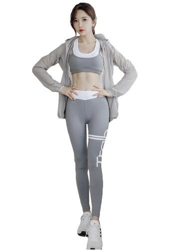 YG Fitness multi (4PCS)Sports Fitness Yoga Suit (Sports Bra+Pants+Short T+Jacket) C3062USB62E18BGS_1